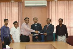 Left to right: Engineer SM Raihan (Overseas Coordinator of ILEAD), Dr. Md. Abduz Zaher (Associate Professor of the Institute of Nutrition and Food Science, Dhaka University), Mr. Pradip Chopra (Chairman, iLEAD), Prof. Dr. AAMS Arefin Siddique (Vice-Chancellor, Dhaka University), Prof. Dr. Md. Kamal Uddin (Treasurer of Dhaka University) and Syed Rezaur Rahman (Registrar of Dhaka University)