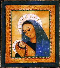 Madonna & child by Judy Coates Perez.  Textile art with beading.