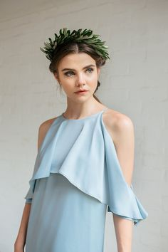 Light blue Kasia Drop Shoulder bridesmaid dress paired with beautiful greenery crown // These days, brides want their bridesmaids to look every bit as sophisticated as them because it's true what they say – you are the company you keep. We spoke with bridesmaid fashion expert Stephanie Low of local fashion brand Love & Bravery to get the low-down on the latest bridal fashion trends, as well as gorgeous bridesmaids recommendations under $50