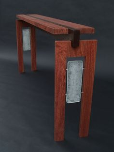 Floating Bubinga Top Console with Cast Glass