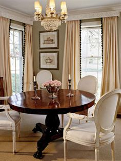 I Adore The Contrast Of The Dark Wood Table With The Less Imposing Light  Colored Upholstered French Chairs.
