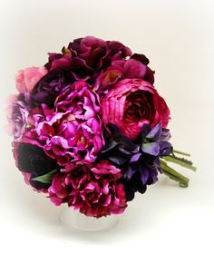 Peony & Hydrangea Bouquet Bridal Bouquet by blueorchidcreations, $115.00, tropical wedding bouquet, peony bouquet, fuchsia and purple bouquet