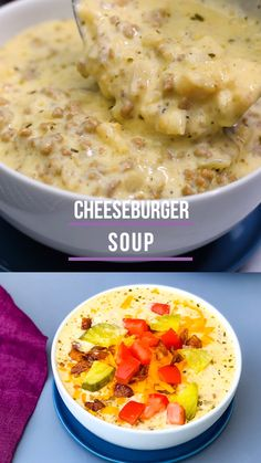 Keto Low-Carb Cheeseburger Soup is a quick and easy one-pot dinner recipe. The ingredients include ground beef, cheddar cheese, cauliflower, and cream cheese. Load it up with crunchy bacon, pickles, and tomatoes if you wish. This healthy hamburger recipe is perfect for meal prep and leftovers. #KetoRecipes #KetoCheeseburger
