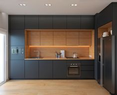 Modern Kitchen Interior Remodeling 35 Modern Black Kitchens That Tempt You To Go Dark For Your Ideas Kitchen Room Design, Kitchen Cabinet Design, Kitchen Sets, Interior Design Kitchen, New Kitchen, Kitchen Decor, Awesome Kitchen, Hidden Kitchen, Kitchen Wood
