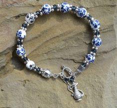 Beaded Bracelet Ceramic Bracelet Hand painted Ceramic Blue