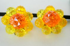 Vintage Made In Western Germany Faceted Lucite Earrings $20.00