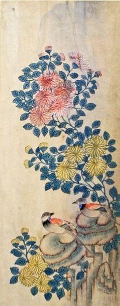 88: Set of 6 Korean Traditional Bird & Flower Painting - 6
