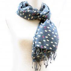 Slate Blue Sheep Print Scarf for Women Womens Scarves, Slate, Sheep, Jewellery, Accessories, Fashion, Moda, Chalkboard, Jewels