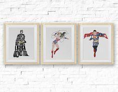 SET Batman Wonder Woman Superman Cross Stitch by StitchLine