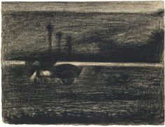 Georges Seurat 1859 - 1891 LE TOMBEREAU AU CHEVAL BROUTANT Conté crayon on laid paper 24.5 by 31.5cm., 9 5/8 by 12 1/4 in. Executed circa  1...