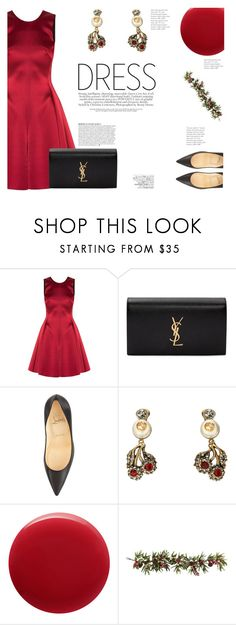 """Perfect Party Dress"" by katsin90 ❤ liked on Polyvore featuring Emporio Armani, Yves Saint Laurent, Christian Louboutin, Gucci, Oribe, Nearly Natural, Anja, Avenue and partydress"