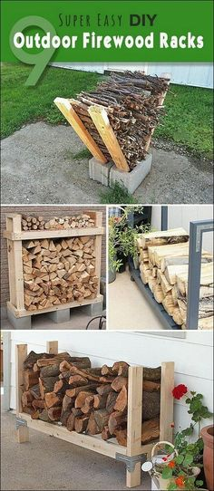 Lots of ideas projects and tutorials of firewood racks that you can very easily make yourself! The post 9 Super Easy DIY Outdoor Firewood Racks! Lots of ideas projects and tutoria appeared first on Diy. Outdoor Firewood Rack, Firewood Storage, Firewood Stand, Firewood Holder, Backyard Projects, Outdoor Projects, Diy Projects, Outdoor Ideas, Project Ideas
