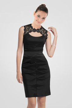 modern-pleated-black-satin-cocktail-dress-featuring-keyhole-neckline-and-illusion-lace-back