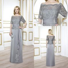 Wholesale Mother's Dresses - Buy Vintage Mother of The Bride Groom Wedding Dresses Grey Sliver With Lace 1/2 Half Long Sleeves Sexy 2015 Formal Ball Gowns Suits Dress Sheer, $102.95 | DHgate
