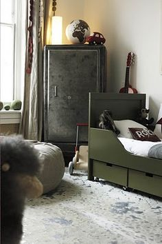 olive & charcoal boys room