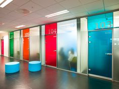 Image 11 of 15 from gallery of Nordahl Grieg High School / LINK arkitektur. Photograph by LINK arkitektur Office Signage, Office Branding, Wayfinding Signage, School Signage, Office Graphics, Window Graphics, Environmental Graphic Design, Environmental Graphics, Education Architecture