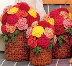 Crochet roses.  Inspiration only.  No pattern. Looks like the pots are done in basketweave stitch...have to try this.