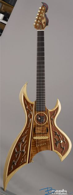 Renaissance woodcutting style meets modern art in the MUSICAL world with this fascinating electric guitar. INSTRUMENTS FOR JOY - https://www.pinterest.com/DianaDeeOsborne/instruments-for-joy/ - Note that action feel of swirls and non-parallel lines, flowing horn points. Pinned via Junie.