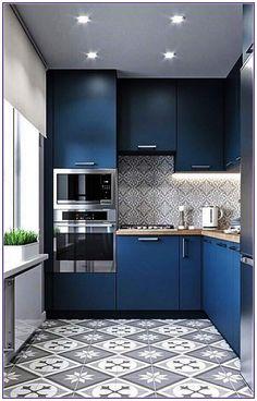 Home Interior Blue Small Kitchen Design Ideas Kitchen Room Design, Kitchen Cabinet Design, Modern Kitchen Design, Interior Design Kitchen, Kitchen Designs, Space Kitchen, Modern Kitchens, Island Kitchen, Modern Kitchen Cabinets