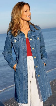 Vintage Faded Denim Long Jacket Coat Mini Dress Small | Coats