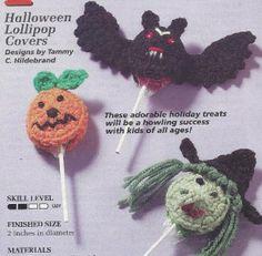 crochet sucker covers | 49H Crochet Pattern for Halloween Lollipop Covers Witch Bat Pumpkin ...