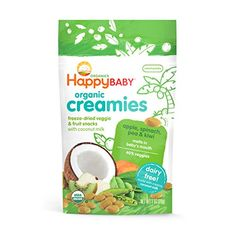 Happy Baby Organic Creamies FreezeDried Veggie  Fruit Snacks with Coconut Milk Apple Spinach Pea  Kiwi 1 oz Pack of 8  Packaging may vary * You can find more details by visiting the image link.