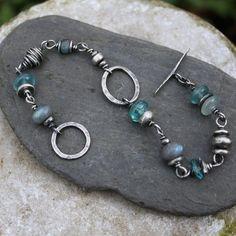 Silver Labradorite and Apatite bracelet