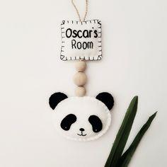 Panda room sign, monochrome nursery decoration, panda nursery door sign, black and white door sign, panda kids room, panda bedroom by Pippsybelle on Etsy
