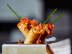 Cornets filled with marinated #salmon tartare and salmon roe, by #ARIAFineCatering