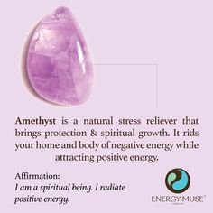Amethyst is a natural stress reliever that provides protection and brings spiritual growth. It helps to rid your body and home of negative energy, like feelings of stress, anxiety and fear, while replacing it with positive energy. #amethyst #healing #crystals #energymuse