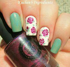 Kuchens ingredients: roses nail art design using ILNP polishes Rose Nail Art, Floral Nail Art, Rose Nails, Flower Nails, Nail Tattoo, Stamping Nail Art, Pretty Nail Art, Creative Nails, Gorgeous Nails