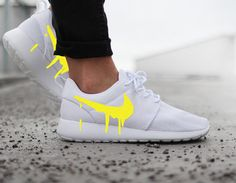 Nike Roshe White with Custom Yellow Candy Drip Swoosh Paint