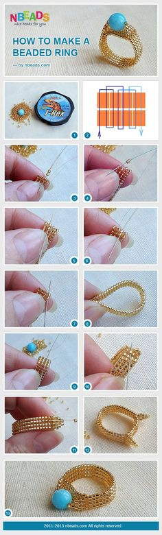 How to  make a beaded ring - nice tutorial   . . . .   ღTrish W ~ http://www.pinterest.com/trishw/  . . . .  #handmade #jewelry #beading