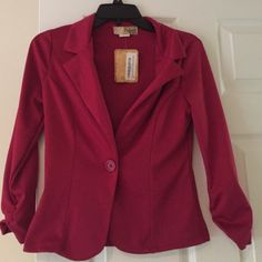 New red blazer New with tags red blazer with 3/4 sleeves one button closure. Jackets & Coats Blazers