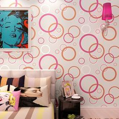 33.99$  Watch now - http://alilnt.shopchina.info/go.php?t=32773354676 - Contracted non-woven wallpaper Study of modern bedroom living room TV setting wall paper wall paper circle 33.99$ #buymethat
