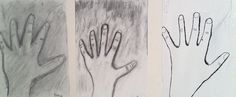Ihminen, oma käsi - hiili, grafiittikynä, tussi