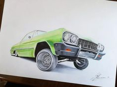 This is an hommage to the real OG Eazy-E Chevrolet Impala. Arte Lowrider, Graffiti Writing, Graffiti Characters, Car Drawings, Animated Cartoons, Chevrolet Impala, Urban Art, Corvette, Sculpture Art
