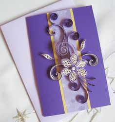 Handmade Christmas Card Quilled Christmas Flower by stoykasart; can easily be Easter with this color combo