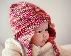Earflap Hat PDF Knitting Pattern Baby Hat Pattern by LoveFibres Baby Knitting Patterns, Baby Hat Patterns, Baby Hats Knitting, Crochet Patterns, Knitted Hats Kids, Christmas Tree Hat, Girl With Hat, Knitting Projects, Julie Taylor