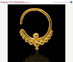 $14 ON SALE Gold Plated Septum For Pierced Nose  Body by RONIBIZA