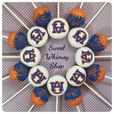 12 AU Cake Pops for Auburn university tigers by SweetWhimsyShop