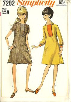 1960s  Simplicity 7202 Misses A Line Dress Pattern by mbchills