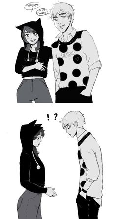 marinette has chat noir clothes and adrien ladybug clothes! Ladybug E Catnoir, Ladybug Comics, Lady Bug, Manga Romance, Marinette E Adrien, Film Manga, Marinette Ladybug, Catty Noir, Miraculous Ladybug Fan Art