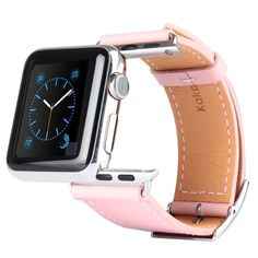 [$12.55] Kakapi Metal Buckle Cowhide Leather Watchband with Connector for Apple Watch 38mm(Pink)