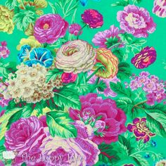 Philip Jacobs Floral Delight Green Gradi Flora FQ FAT Quarter Kaffe Fassett Collective Quilting Rowan Westminster Quilt Sewing Fabric by KinshipQuilters on Etsy Black And White Quilts, Shabby, Beautiful Fantasy Art, Purple Roses, Pink Purple, Cotton Quilting Fabric, Floral Fabric, Fabric Flowers, Vintage Patterns