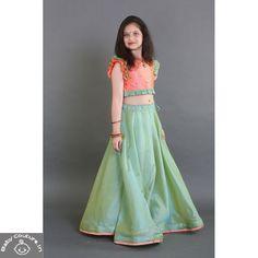 Saka Designs Chanderi Cotton Lehnga With Silk Choli Kids Blouse Designs, Saree Blouse Neck Designs, Half Saree Designs, Bridal Blouse Designs, Half Saree Lehenga, Kids Lehenga, Anarkali, Kids Dress Wear, Kids Wear