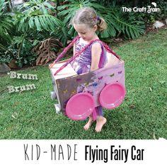 Flying Fairy Car   The Craft Train #reuse #cardboardboxcar #boxcar #kbn