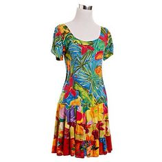 Tropical Patterned Sack Dress | NiftyThrifty - Rare Finds Everyday
