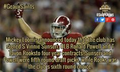 Mickey Loomis announced today that the club has signed S Vinnie Sunseri, OLB Ronald Powell and T Tavon Rooksto four-year contracts. Sunseri and Powell were fifth round draft picks, while Rooks was the club's sixth round choice. / #GeauxSaints