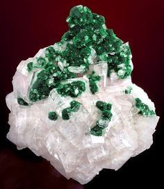 Malachite on Calcite from Namibia